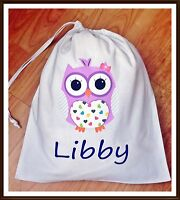 PERSONALISED GIRLS PURPLE OWL PE PUMP GYM SCHOOL NURSERY DRAWSTRING COTTON BAG