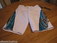 Men's O'Neill board shorts 28 white turquoise surf NEW mesh swim Oneal trunks