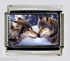 Wolf Wolves Kissing LOVE Italian Photo 9mm Charms for modular style bracelets