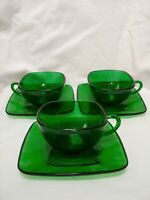 Set of (3) Anchor Hocking Charm Forest Green Cups & Saucers