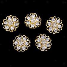 5pcs Crystal Flower Shank Button Sewing Embellishment DIY Crafts Gold 20mm