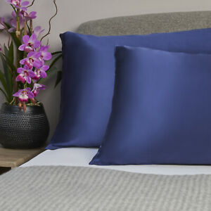 100% Pure and Organic Mulberry Silk Pillow Case - 19 Momme Navy Blue