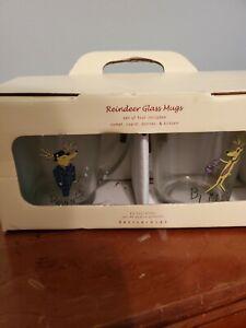 (Set Of 4) Pottery Barn Reindeer Glass Christmas Holiday Mugs With Handles NIB!