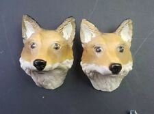 Vintage Porcelain Red Fox Head Matching Pair