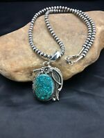 Mens Sterling Silver Navajo Pearls Spider Web Turquoise Yazzie Pendant Set 2540