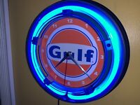 "MOPAR M Logo 19/"" Blue Double Neon Clock Man Cave Garage Shop Bar Store Dealer"