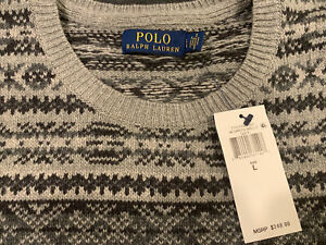 NWT Polo Ralph Lauren Fair Isle Gray Cotton Cashmere Crewneck Pullover Sweater L