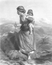 PRETTY YOUNG MOTHER BABY on BACK Swiss Alps MOUNTAINS ~ 1848 Art Print Engraving