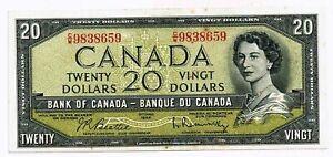 Canada - 1954 Bank of Canada $20 Dollars P80b Banknote EF+/aUNC Condition