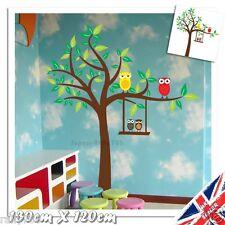 Nursery Tree Owls Wall Art Stickers Vinyl Animal Monkey Baby Child Bedroom Decal