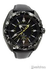 New Seiko Prospex Men Black Leather Kinetic GMT Date Watch 45mm SUN057 $450