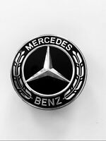 Mercedes Bonnet Flat Star Emblem Badge Gloss Black For C W204 W205 E W212 W213