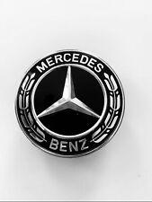 Mercedes Bonnet Flat Star Emblem Badge Gloss Black For C W204 W205 E W212 W213