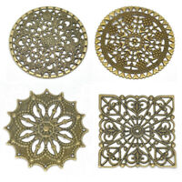 Antique Bronze Filigree Stamping Round Wraps Connectors Embellishments Findings