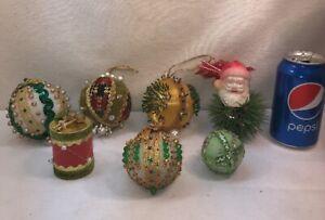 Vtg 7pc Lot Foil Push Pin Craft Art Foam Ornament Sequined Christmas Balls