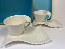 Villeroy Boch New Wave Caffè Café au Lait Cups and Large 22cm Saucer Set.
