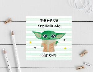 Personalised Birthday card- Yoda, son, nephew Grandson
