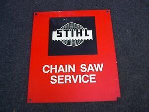 Vintage Stihl Chain Saw Service Plastic Store Dealers Sign Original 15 x 17 1/4