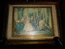 Florentine Wall Plaque Made in Italy Dance Ball Scene Rectangular 6x8 Vintage