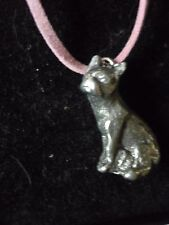 """French Bulldog Dog tg8 English Pewter On a 18"""" Pink Cord Necklace"""