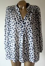 Blouse Top Anna Glover For H&M UK M Ivory Blue Butterfly Super Soft Touch Smock