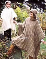 CABLE PONCHO /chunky knit - COPY Ladies & child knitting pattern
