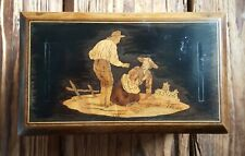 More details for antique 19th century inlay marquetry tea caddy foil lined