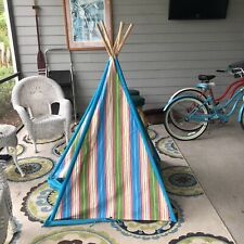 Kids Teepee Tent Wigwams Striped Colorful Easy to assemble &  break down cotton