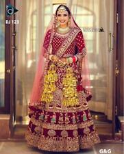 Bridal Party Wear Women Bollywood Wedding Designer Velvet Lehenga Choli