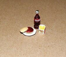 Dollhouse Miniatures, Hamburger & Fries, Coca Cola,(Coke) w/white plate.