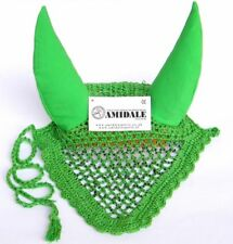 EAR NET FLY VEIL HORSE RIDING GREEN COLOR WITH MULTI COLOUR BEADS FROM AMIDALE