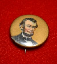 Antique ABRAHAM LINCOLN Celluloid Pin BUTTON with Paper Insert, Good condition
