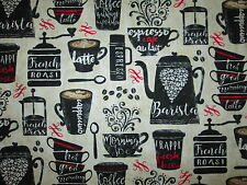 COFFEE DRINKS CUPS BAR BARISTA ESPRESSO FRAPPE PRESS COTTON FABRIC FQ
