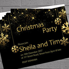 Personalised Christmas Party Gold Tinsel Snowflake Invitations x12 +envs H1662