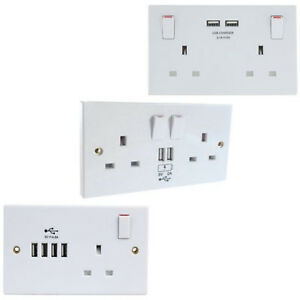 13 AMP TWIN SOCKET USB CHARGER WHITE PLASTIC SINGLE DUAL AND QUAD