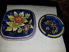2 Ashtrays Vietri (Italian) Dip A Mano (Painted by Hand)