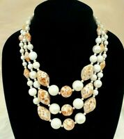 Vintage Signed JAPAN Triple Strand Bead and Imitation Pearl Necklace *Chunky*
