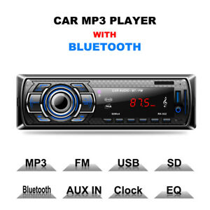 1DIN Car Radio Stereo Audio In-Dash FM Aux In SD USB Bluetooth MP3 Music Player