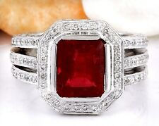 5.50 Carat Natural Red Rubelite and Diamond 14K White Gold Cocktail Ring
