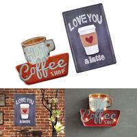 2pcs Coffee Metal Tin Sign Posters LED Light Box Kitchen Cafe Bar Wall Art