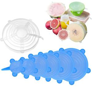 6Pcs Set Stretch Silicone Food Bowl Cover Storage Wraps Seals Reusable Lids UK