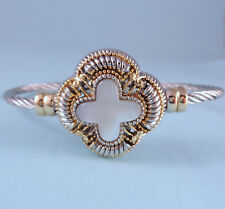 Quatrefoil Designer Inspired Silver Alloy Heavy Cable Cuff Bali Bracelet USA