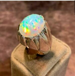 Natural Opal Gemstone with 925 Sterling Silver Ring for Men's