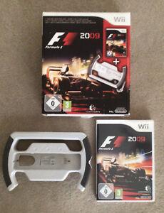 Boxed F1 2009 Formula 1 Nintendo Wii PAL Game & Steering Wheel FREE UK P+P