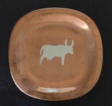 Vintage Mexican Taxco Los Castillo Copper Plate w/ Silver Inlay Cow motif