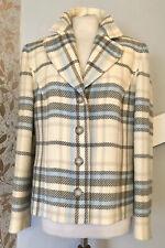 Hucke Woman 100% New Wool Ladies Pastel Check Jacket Uk 14 Soft Blazer Coat