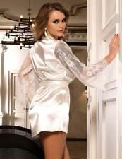 White Bride Silk Satin Lace Sexy Women Kimono Robe Lounge wear BX43