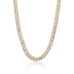 Iced Cuban Out Prong VVS Diamond Chain Necklace 12mm 18K Gold Plated Rapper New