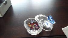 Swarovski Crystal, Blue Ribbon Heart, Trinket box Marked w Swan Logo
