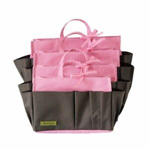 MYLIORA ORIGINAL Sturdy Liner Bag Pouch Purse Insert Organiser - Brown Pink